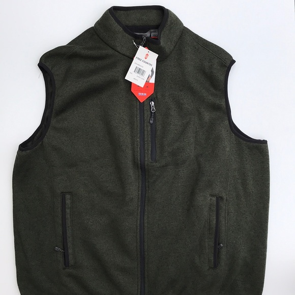 01f4600751288 Free country men s dark leaf sweater fleece vest